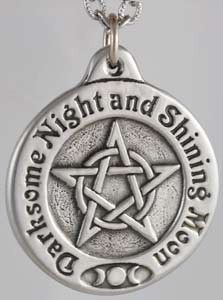 "Handcrafted in the USA with the finest lead-free pewter, this 1 1/4"" diameter amulet is elegantly engraved with a pentacle woven around a circle. Surrounding this, the magical chant ""Darksome Night and Shining Moon"" and a triple moon design remind us of our mystical path and the circles we dance. Hanging from a cord, it is an enchanting piece that can be worn by just about everyone."
