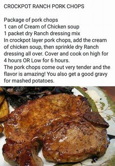 Awesome recipe for easy crock pot cooking! Awesome recipe for easy crock pot cooking! Crockpot Dishes, Crock Pot Slow Cooker, Crock Pot Cooking, Pork Dishes, Slow Cooker Recipes, Crockpot Recipes, Cooking Recipes, Crockpot Ranch Porkchops, Gourmet