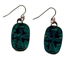 Copper with Green Patina Cross Handmade Earrings JB