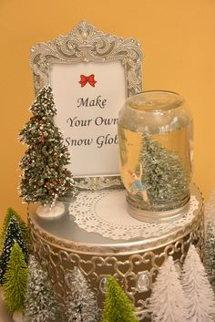 Make your own snow globe craft at a Nutcracker Tea party!  See more party ideas at CatchMyParty.com!  #partyideas  #christmas