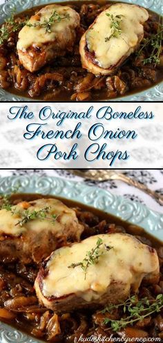 My French Onion Pork Chops recipe is super simple to prepare. It has all the flavors you love in a traditional French onion soup, but it's got a little more to sink your teeth into! Pork Chop Recipes, Meat Recipes, Cooking Recipes, Healthy Recipes, Spinach Recipes, Cooking Tips, Pork Recipes Lunch, Recipes With Pork Loin Chops, Pork Loin Recipies