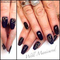 This jump-ring gel mani is just too hot for words! For the dark sparkly nail I used 2 thin coats of a darker shade, #BlackShadow, w 2 coats of the dark jelly glitter #BackFlip. The sultry navy nail is #IHearttheInstructor. I used clear hard gel to apply the jump rings. Voila!  #wellmanicured @gelish_official @Melanie Bauer McCulley #nails #gel #snowescape #jumprings #nailstylist #nailpro #ballerinashapenails #coffinshapenails #manhattanbeach #manicure #inspiration #intheheartofthesouthbay