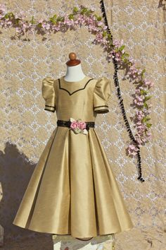 Flower girl dress shimmering gold with black by SnowdropsDesigns