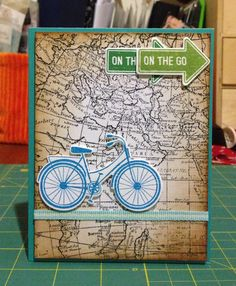Farewell card. Stamp: world map - Stampin'Up (background), have a great day - Hero Sizzix dies Ink: memento