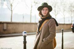 #Fedora hat with camel coat