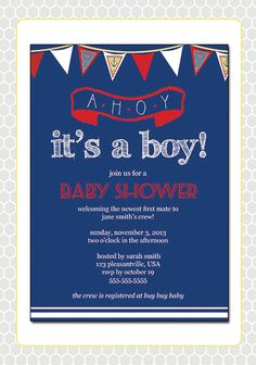 Cute nautical invite for baby boy shower!!
