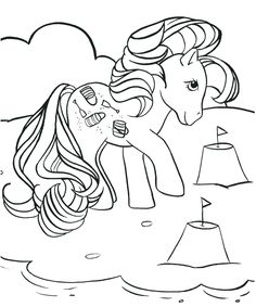 kleurplaat My little pony - Pony op het strand