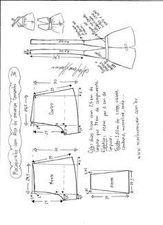 Esquema de modelagem de macaquinho de alças cruzadas tamanho 36.