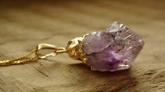 Gold Plated Necklaces – Amethyst gold – a unique product by Misarte on DaWanda