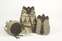 KokoKarma Rattan Basket Handwoven Brown leather Bag Korbtasche Flechttasche
