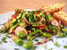 TUINBONEN-RADIJS SALADE (uit Plenty) 200 gram tuinboontjes, het gewicht is als ze dubbelgedopt zijn  150 gram radijsjes ¼ rode ui, in hele fijne ringen gesneden 1-2 eetlepel fijngesneden verse koriander 1-2  eetlepel fijngesneden platte peterselie  sap van ½ -1 citroen 1-1½ eetlepel olijfolie ½-1 theelepel komijnpoeder Voor de groene tahinisaus  75 ml tahin (sesampasta) 50 ml water 10 ml citroensap 1-2 teentjes knoflook, geraspt 10 gram fijngesneden platte peterselie zwarte peper naar smaak
