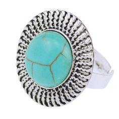 Tibetan silver Vintage Turquoise Adjustable Rings