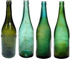 Tooheys, Resch's, Brisbane Bottle Exchange, NSW Bottle Co. Australian Crown Seal Beer bottles of varying shades of Green. Old Bottles, Beer Bottles, Australian Beer, Beer Brewing, Shades Of Green, Fresh Water, Ale, Antiques, Drinks