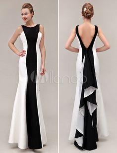 Elegante sereia preto/branco tafetá em cascata plissado do assoalho-comprimento vestido de noite com pescoço de jóia - Milanoo.com