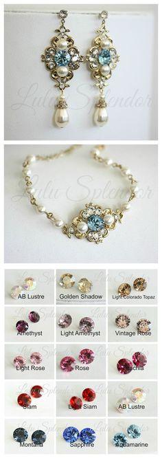Vintage style Wedding Earrings Color Rhinestone by LuluSplendor
