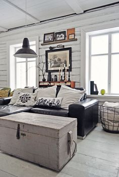 ♂ Masculine interior Lunda Gard / Aja and Christian Lund gray and white eclectic rustic vintage modern living room My Living Room, Home And Living, Living Room Decor, Dining Room, Living Area, Cottage Living, Small Living, Interior Exterior, Home Interior