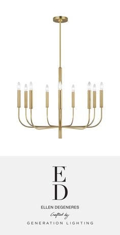 ED Ellen DeGeneres   The Brianna Chandelier's graceful, seamless curvature and elongated tubular arms lend fluidity and modern appeal to this classic minimalist silhouette. Available in rich, gilded Burnished Brass and the more contemporary Polished Nickel finish. Brianna wall sconces include cylindrical shades in fresh White Linen.   Available at clarksonlighting.com. Minimalist House Design, Minimalist Home, Interior Design Living Room, Living Room Decor, Dining Room, Ed Ellen Degeneres, Mood Light, Chandelier Lighting, Polished Nickel