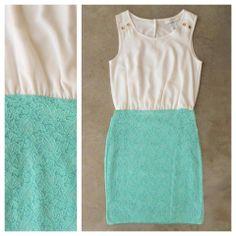 White + Mint Lace Colorblock Dress