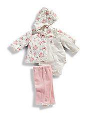 Infant Girls 3 Piece Rose Quilt Jacket Set