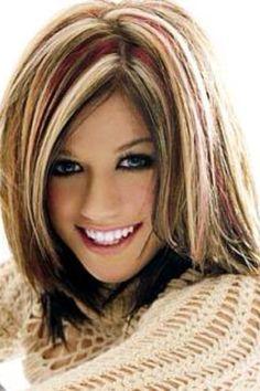hair highlights flipgirl my hairstyle inspirations Chunky Highlights, Hair Color Highlights, Blonde Color, Color Red, Red Blonde, Caramel Highlights, Dramatic Highlights, Blonde Hair, Coloured Highlights