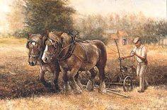 L'art de / the art of Leon Engelen Horse Canvas Painting, Clydesdale Horses, Farm Art, Dutch Painters, Vintage Farm, Horse Drawn, Draft Horses, Mountain Man, Equine Art