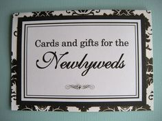 5x7 Tent Folded Cards and Gifts for the Newlyweds Wedding Sign in Black and White Damask - READY TO SHIP. $6.50, via Etsy.