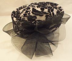 Classy and Fun Vintage Hat with a Floral design and a Big Black Bow!