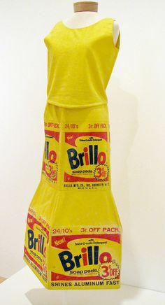 "Andy Warhol ""Brillo Box Dress"", 1964 Silkscreen on Fabric, Palm Springs Art Museum PD Pop Art Fashion, Mod Fashion, Warhol Paintings, Andy Warhol Art, Cute Little Kittens, Sixties Fashion, Spring Art, Hygiene, Mellow Yellow"