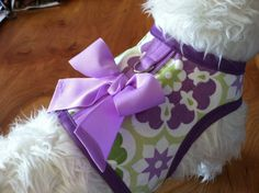 Reg $34.99 Sale $9.99  This very sweet spring harness is adorned with grosgrain bow and coordinating lilac trim. Print fabric is sturdy cotton duck and lining is soft lilac polka dot cotton. Reinforced body for extra strength for strong pullers.  Stainless steel hardware Machine washable    One harness made up and ready to ship  5lb (fits 3-6 lb) girth 11  Custom sizes no longer available Our newest model Macy is showing off her new harness with matching leash! So Cute! Our very sweet model…