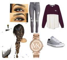"""""""Outfit #6"""" by sierrasaucedo on Polyvore featuring H&M, Victoria's Secret, Converse and Michael Kors"""