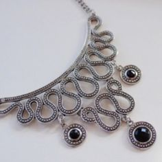 Set of Black Gem Silver Necklace and Earrings Exquisite and unique!!! Jewelry Earrings