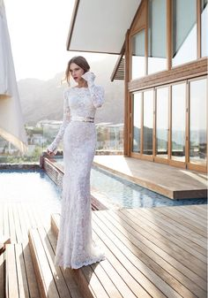 julie vino fall wedding dress 2015 with long lace sleeves