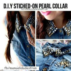 Sewing on pearl collar to jean jacket  #DIY #dorm #college