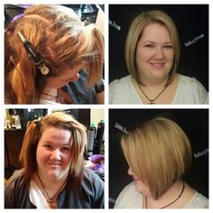 Transformation for my beautiful client! Hilite, shadow color, base break, super cute angled bob, and keratin treatment!