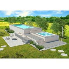 Piscina fuori terra in WPC con Jacuzzi Oberirdischer Pool, Swimming Pool Decks, Above Ground Pool, In Ground Pools, Exterior Design, Interior And Exterior, Backyard Pool Landscaping, Outdoor Furniture Sets, Outdoor Decor