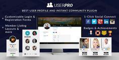 UserPro ofrece hermosos perfiles frontales, inicio de sesión e inscripción para WordPress. Además de estos, UserPro viene con muchas otras características como conexión e integración social, marketing viral, credenciales de usuario, cuentas verificadas, restricción de contenido.