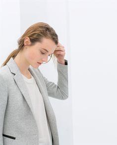 ZARA - WOMAN - VELOUR BLAZER WITH FAUX LEATHER DETAIL