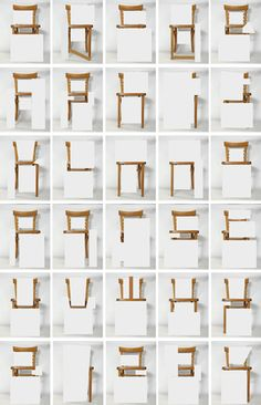 Revealing and concealing parts of a single chair form an unconventional alphabet chart. By Amandine Alessandra.