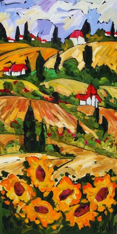 Toscane Et Ses Tounesols - painting by Marie-Claude Boucher at Crescent Hill Gallery