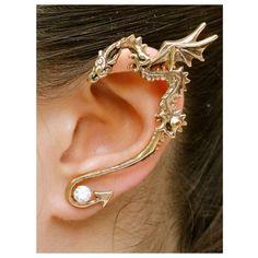 Dragon Ear Wrap Dragon Ear Cuff Bronze Classic Dragon Ear Wrap Dragon... ❤ liked on Polyvore featuring jewelry, earrings, ear cuff earrings, wrap around earrings, antique jewelry, bronze earrings and studded jewelry