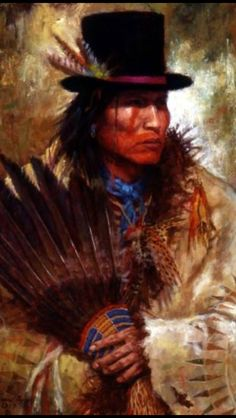 Crow chief in his new hat, painting by James Ayers