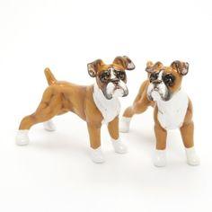 Boxer Dog Lover Gift Ceramic Figurine Handmade