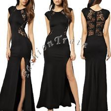 Sexy Women Lace Sleeveless Cocktail Party Evening Long Maxi Prom Ball Gown Dress