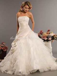 Western Princess Strapless Court Train Satin & Organza Luxury Wedding Dress - $168.91