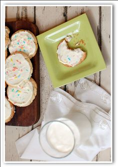 Cake mix cookies: Cake mix, 2 eggs, oil called for on box. Shape dough into balls, place on cookie sheet. Flatten with bottom of glass dipped in powdered sugar. Bake at 375 degrees for 8-9 minutes. Cool and frost.