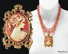 Coral Cameo Pendant Necklace  A Classic  Limited par TonyArmato
