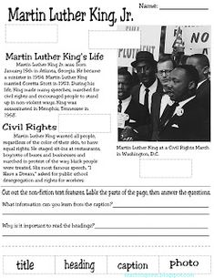 Martin Luther King activity packet! Includes non fiction text features,  map skills, timeline and research project!