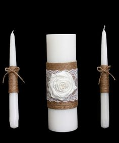 rustic wedding candle set rustic wedding unity candle burlap and lace unity candle