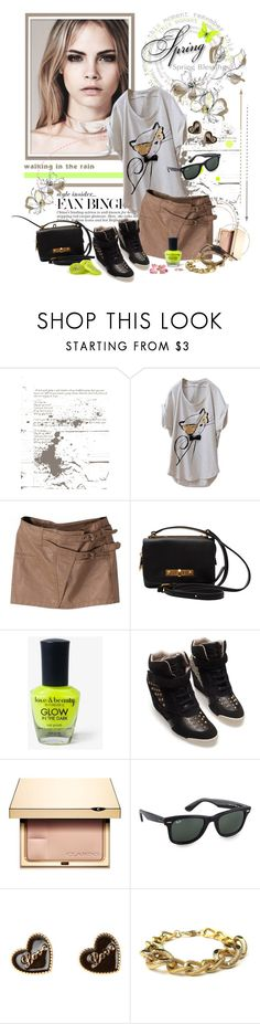 """""""Spring ♥"""" by auby ❤ liked on Polyvore featuring WALL, Marc by Marc Jacobs, Forever 21, Zara, Clarins, Ray-Ban, FRUIT, Alexander McQueen, studded sneakers and wedge sneakers"""