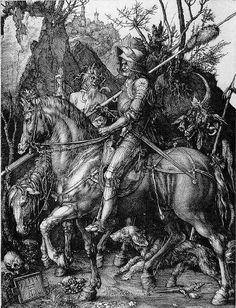 "Albrecht Durer Knight, Death and the Devil (German: Ritter, Tod und Teufel) is a large 1513 engraving, one of the three ""master prints"" of the German artist Albrecht Dürer. Hieronymus Bosch, Framed Art Prints, Painting Prints, Large Prints, Framed Wall, Maximilian I, Alex Pardee, Renaissance Kunst, High Renaissance"